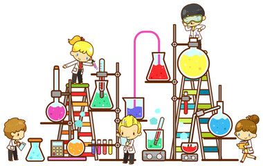 Cartoon children study chemistry experimenting in laboratory with test tube beaker and science tool in isolated background (vector)