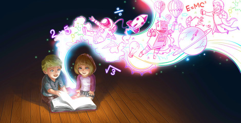 Cartoon couple children boy reading book education knowledge and creative imagination flow like a magic stream (graphic illustration)