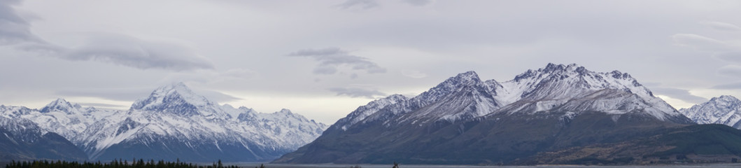 Panorami of of Mt Cook and Mt Brown district of New Zealand's South Island