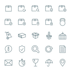Cargo and shipping vector icons set