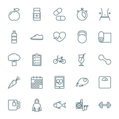 Fitness vector icons set