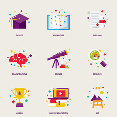 Education and research colorful vector icons set: degree, knowle