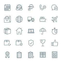 Logistics and shipping vector icons set