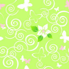 Beautiful seamless floral pattern with butterflies