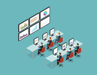 business people analytic on monitor graph report  and SEO on web.flat 3D vector .stock money.finance and investment.business research