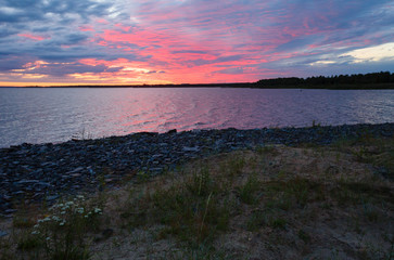 Night sky on the bay (Finland, polar day).