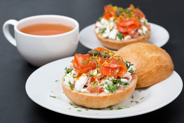 sandwich with salad of cottage cheese, tomato and salmon