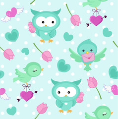 Cute vector seamless pattern with birds, owls and hearts. Endless background.