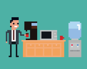pixel art illustration of office worker pours drink in the kitchen, coffee machine, microwave, water cooler