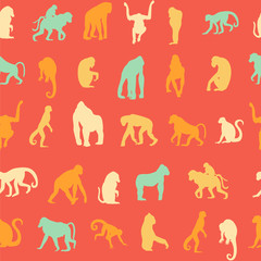 Seamless pattern background with monkeys.
