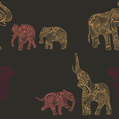 Pattern with elephants in Indian style, vector endless background