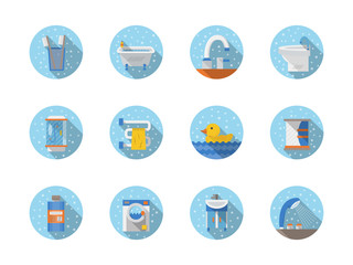 Bathroom and hygiene round flat vector icons