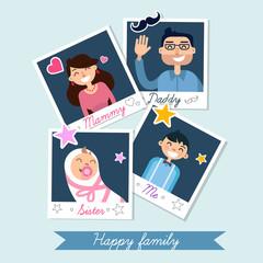 Happy Family set of Polaroid Photo Frames