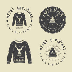 Vintage Merry Christmas or winter clothing shop logo, emblem