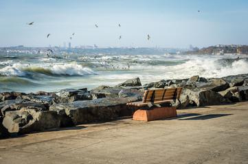 Bench on the coast of Marmara Sea