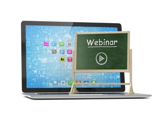 Laptop with chalkboard, webinar, online education concept