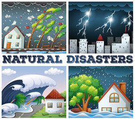 Four scenes of natural disasters