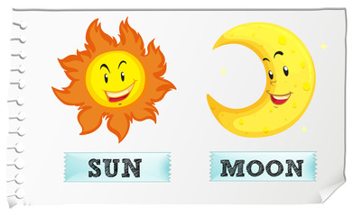 Sun and moon with happy face