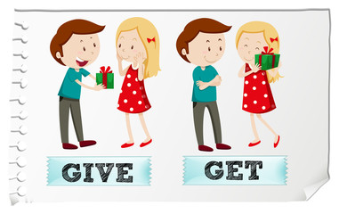 Action verbs give and get