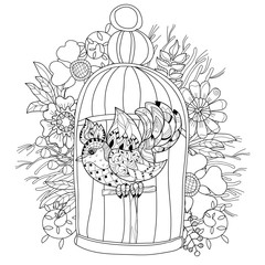 Zentangle stylized bird in cage. Hand Drawn vector illustration. Sketch for tattoo,coloring or makhenda. Bird collection.