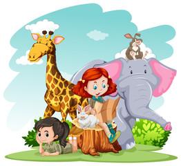 Girls and wild animals