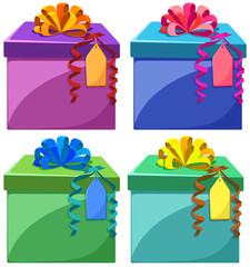 Present boxes in different colors