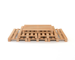 A set of wooden pallets for transportation and storage of cargo