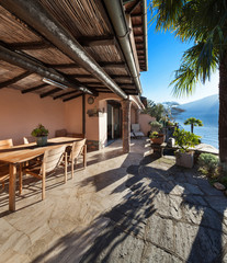 house, veranda at sunset, cottage
