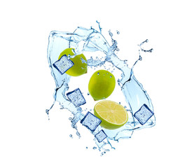 Water splash with fruits and ice cube isolated on white backgroud. Fresh lime