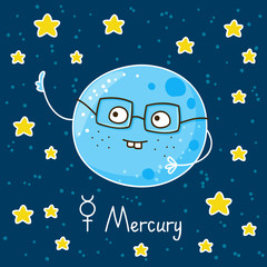 Cute cartoon Mercury on space background