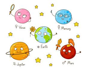 Set of cute cartoon planets