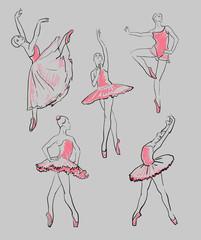vector sketch of girls ballerinas set