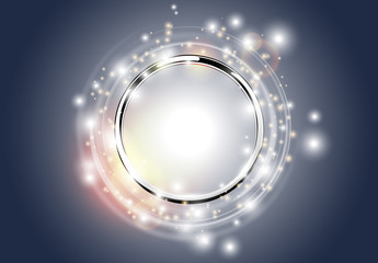 Abstract silver background. Metal chrome ring with light circles and spark with light effect. Vector sparkling glowing round frame on dark. Space for your message.
