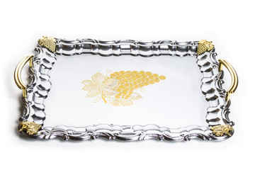 metal tray on a white background