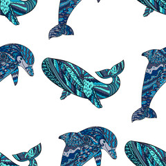 Oceanic animal zentangle seamless pattern.