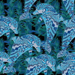 Hand drawn seamless pattern with dolphin.