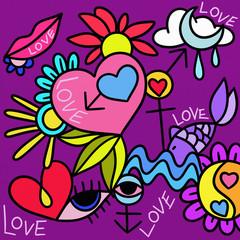 Foto op Canvas Klassieke abstractie abstract design with symbols of love