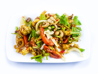 Spicy fried pork skin and cashews salad