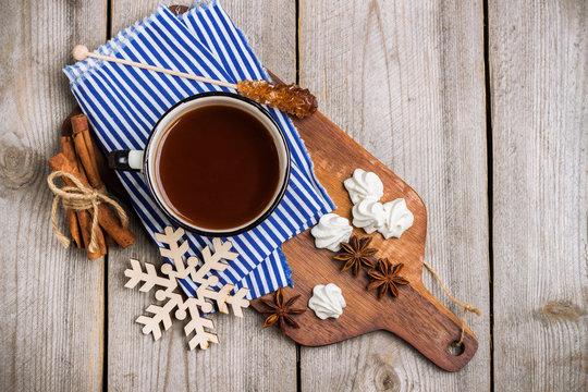 Homemade hot chocolate in a mug