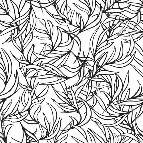 Natural Leaves Vector Seamless Pattern Hand Drawn Tree Branches Ink Doodle Botanical Print