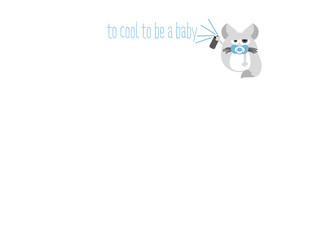 Baby Stationary Card with baby Chinchilla and spraying cans. Vector design.
