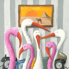 Flamingos in a funny office