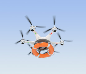 Drone carrying lifebuoy for lifesaving concept.