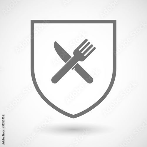 Line Drawing Knife And Fork : Quot line art shield icon with a knife and fork stock image