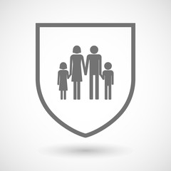 Line art shield icon with a conventional family pictogram