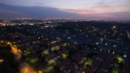 aerial view at dusk of home village in bangkok thailand use for