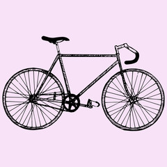 sport bicycle, race road bike, doodle style, sketch illustration