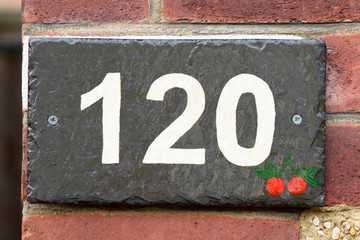 House number 120 sign