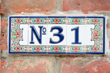 House number 31 tiles