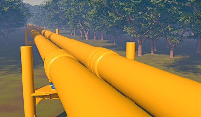 Twin pipeline in a forested area. Fictitious oil and gas pipeline in a forested area with trees in the distance muted by atmospheric effects, overcast sky and motion blur for dramatic effect.